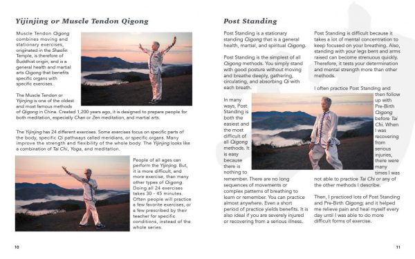 Qigong for Health Sample Pages showing Yijinjing and Post Standing descriptions