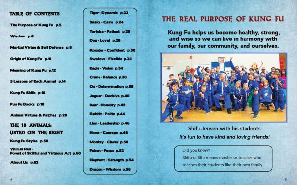 Sample Page from the Kung Fu Animal Power Student Guide showing the table of contents and real purpose of Kung Fu