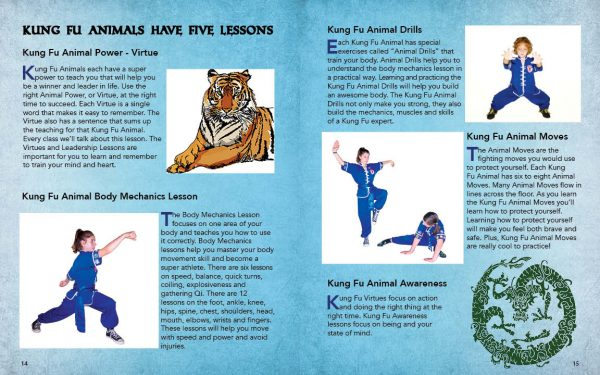 Sample Page from the Kung Fu Animal Power Student Guide describing the five lessons each animal teaches; virtue, body mechanic, animal drills, animal moves and awareness.