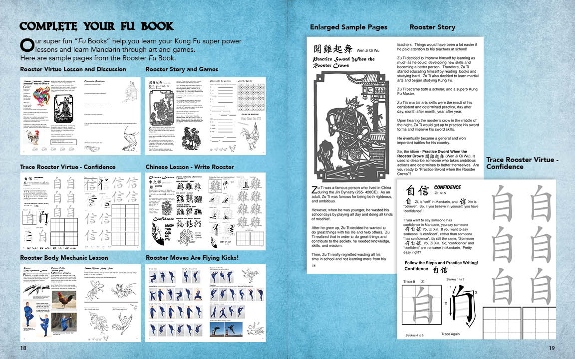 Sample Page from the Kung Fu Animal Power Student Guide showing pages from teh Rooster Fu Book. The Fu Books are fun homework books to create more value and help children learn the lessons of each animal, including Chinese language and cultural.