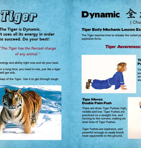Sample Page from the Kung Fu Animal Power Student Guide showing the pages that introduce the lessons of the dynamic Tiger.