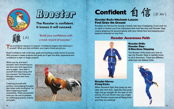 Sample Page from the Kung Fu Animal Power Student Guide showing the pages that introduce the lessons of the Confident Rooster.