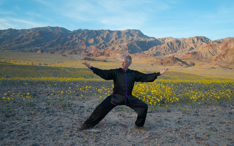 Scott Jensen performs Tai Chi in Death Valley during the Super Bloom of 2016