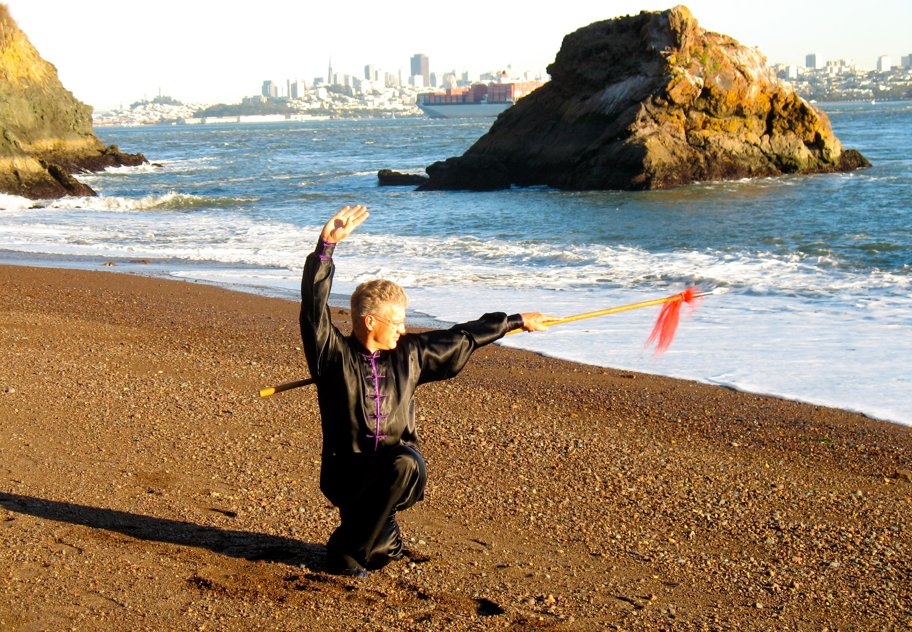 Sifu Scott Jensen practicing Northern Shaolin spear