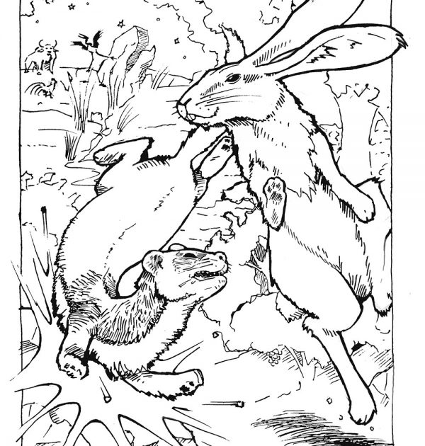 "Coloring page that illustrates the story ""Rabbit Saves the Day!"""