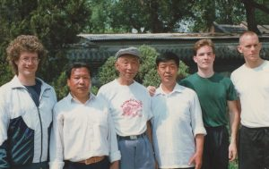 Master Liu Wan Fu with Scott Jensen and students, Tianjin, 1997