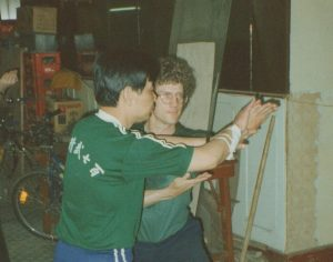 Sifu Su, Headmaster Shanghai Jing Wu, shows Jensen Lost Track Art