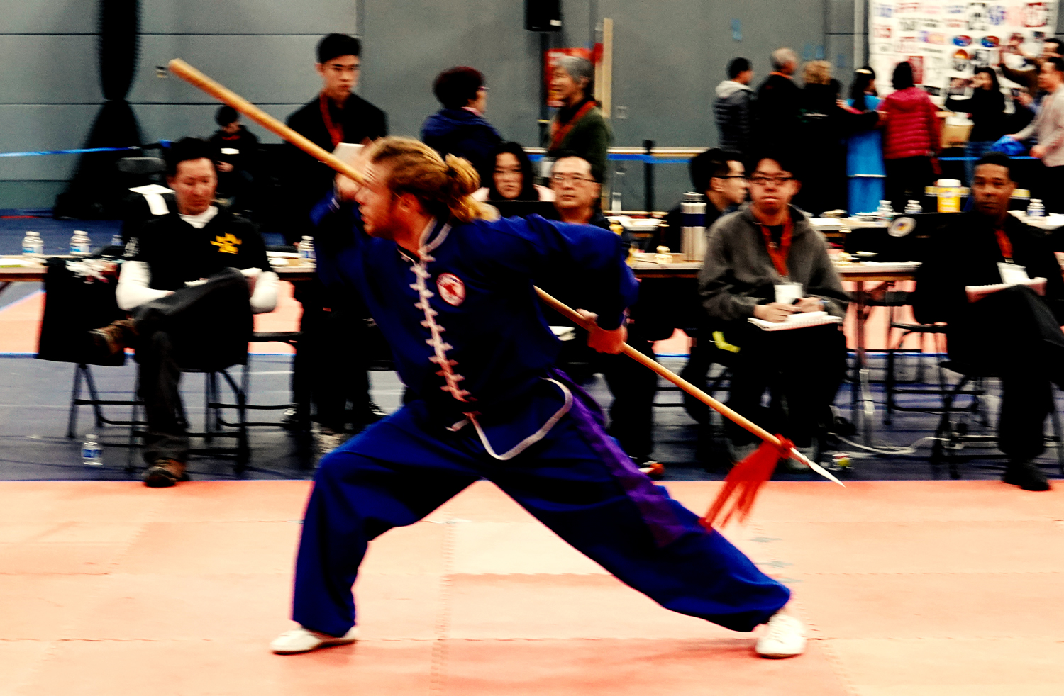 River Rudl performing Rising Block Spear and winning the Gold Medal!