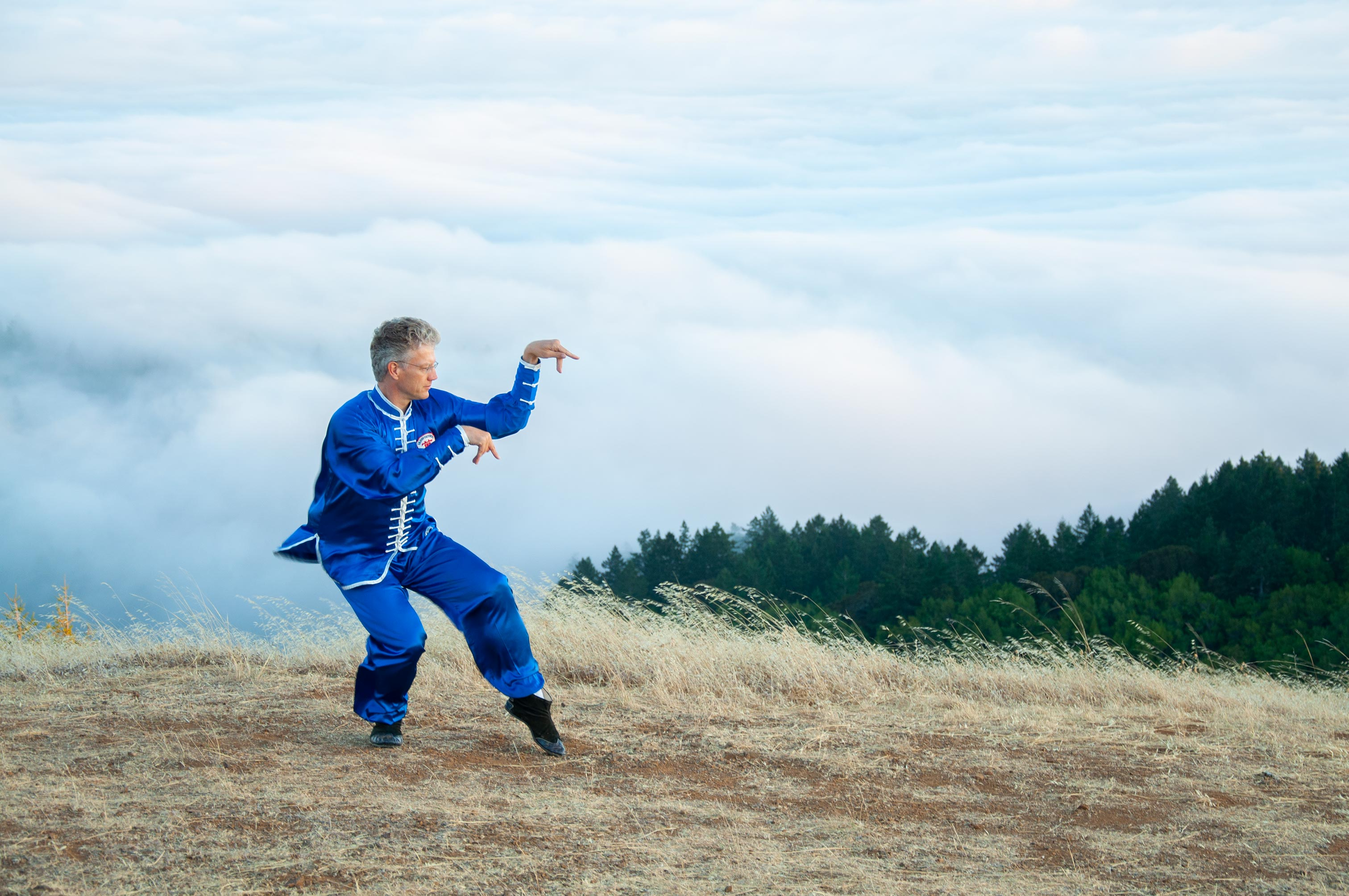 Sifu Jensen performs praying mantis stance on Mt. Tam. 10,000 Victories school is located in San Rafael, Marin, CA.