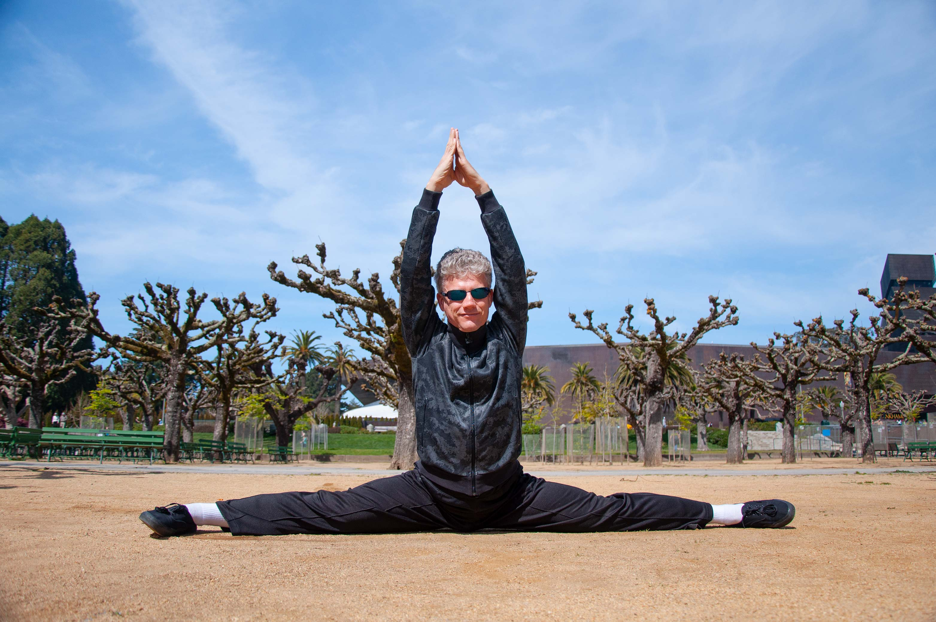 Sifu Scott Jensen demonstrating an amazing level of flexibility at Golden Gate Park, SF