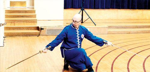 Jason Brenner performing Double Swords