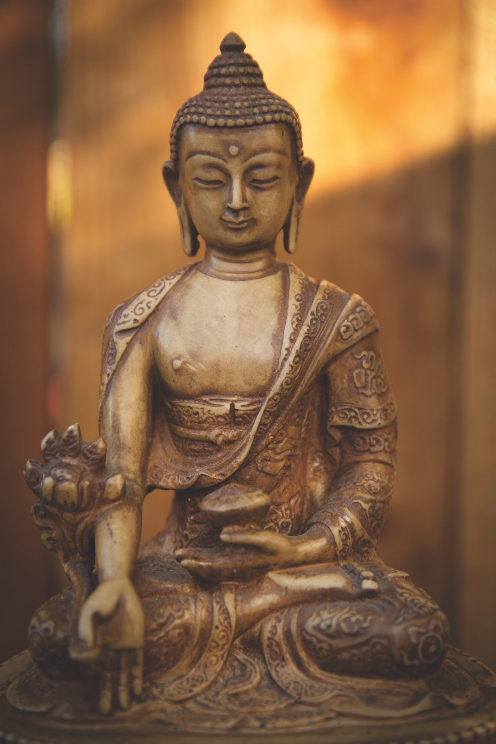 An image of the Medicine Buddha. For a podcast titled Kicking your butt down the path to enlightenment. 10,000 Victories school is located in San Rafael, Marin, CA.