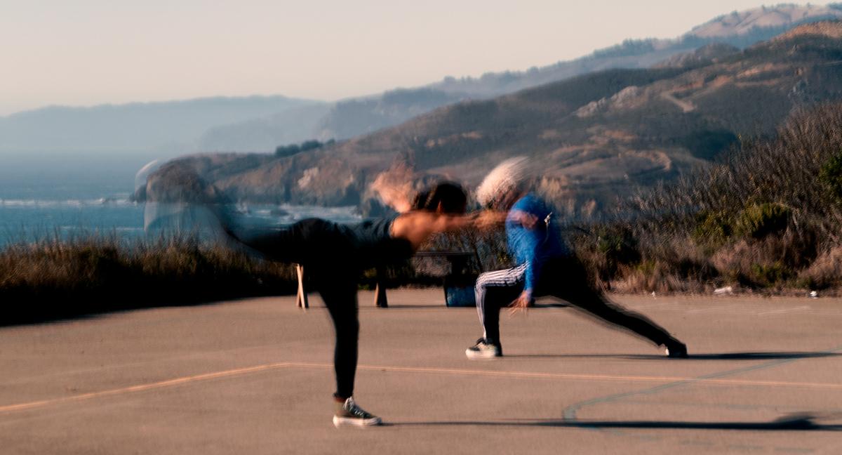 Photos of Ila and Sifu Jensen of 10,000 Victories training. 10,000 Victories school is located in San Rafael, Marin, CA.