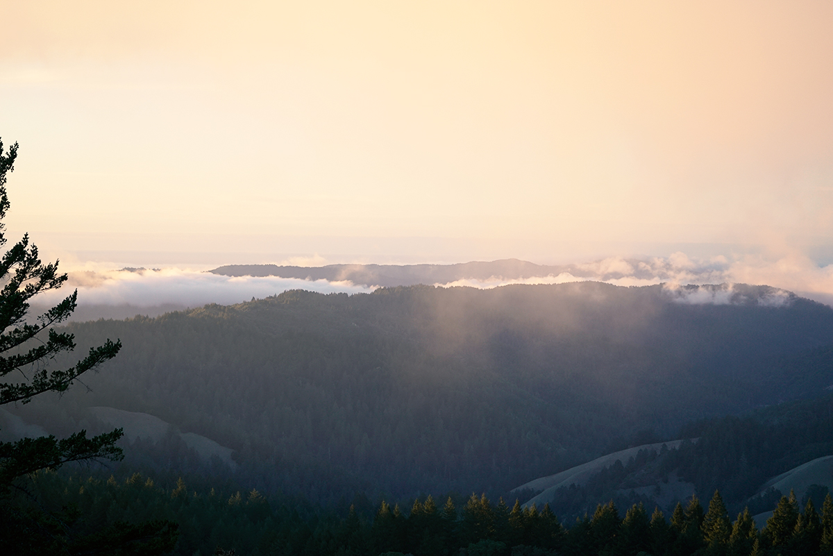 Sun and fog coming over mountains in Marin County, CA. Filming Location for 10,000 Victories Tai Chi Program.