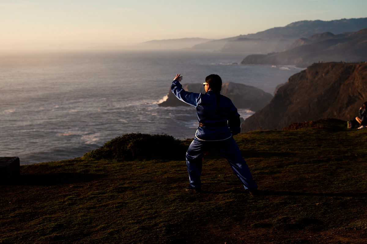 Erica Performs Tai Chi in the headlands in Marin County, CA.
