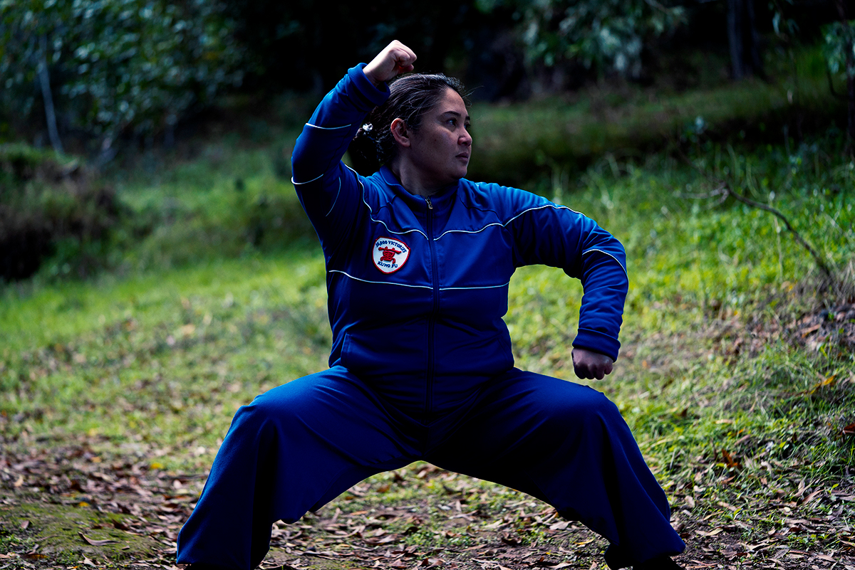 Erica performs a horse stance with a level foundation. Erica is a student at 10,000 Victories in San Rafael, Marin, CA.