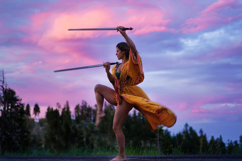 Flowing Swords Sunset Skies