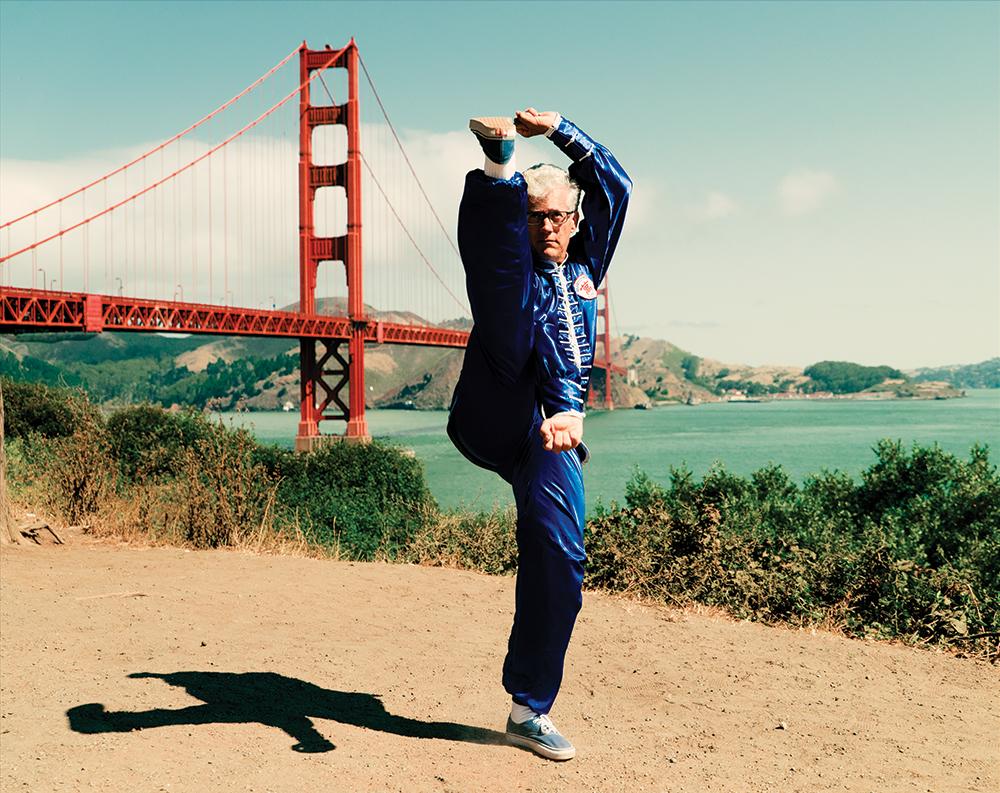 Sifu Jensen practicing kicks near the Golden Gate Bridge. Sifu Jensen teaches at 10,000 Victories School in San Rafael, Marin. CA.
