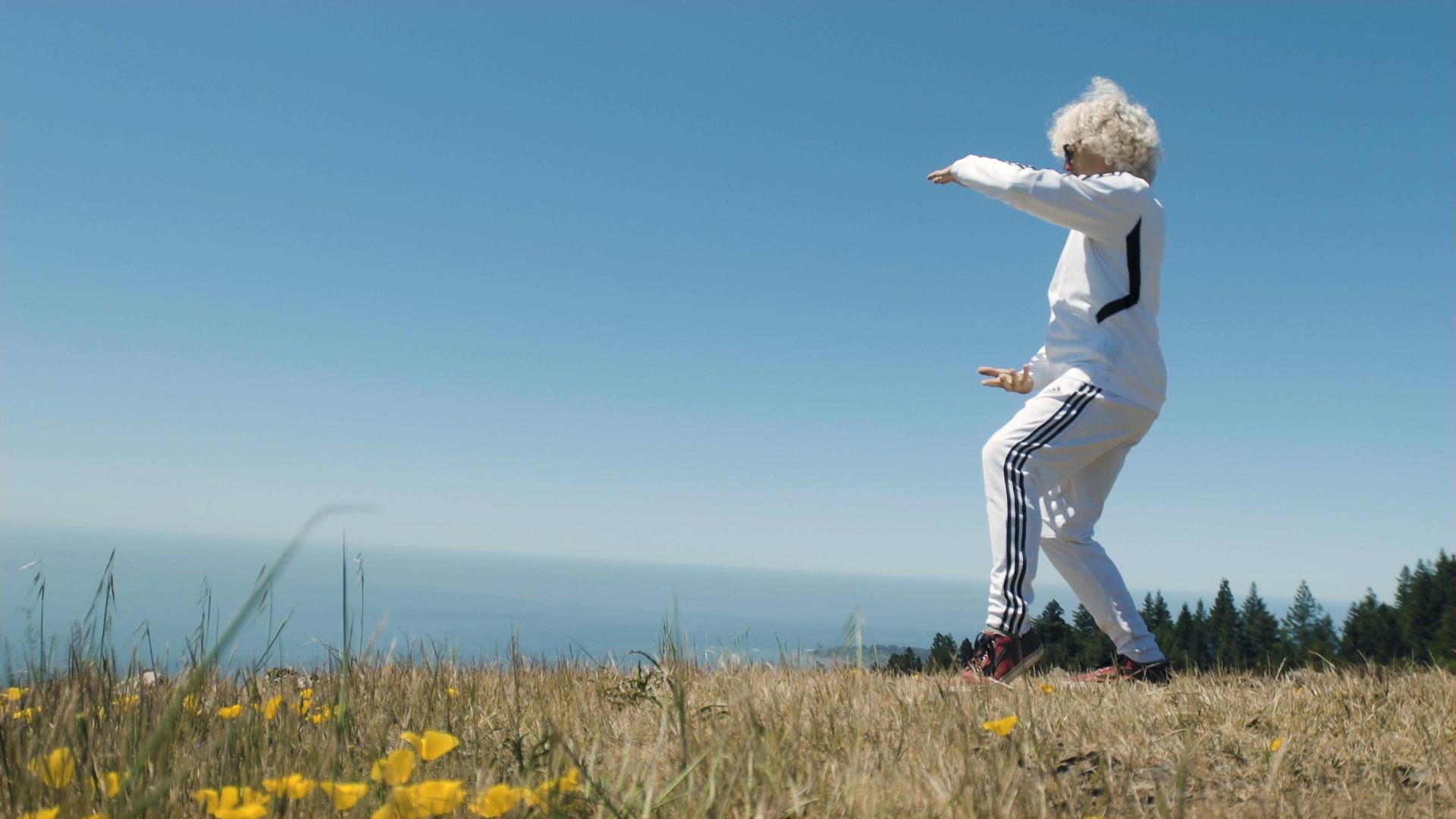 Sifu Jensen performs Tai Chi near beautiful coastline in Marin County, CA.